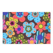 Retro Flowers Bags Postcards (Package of 8)