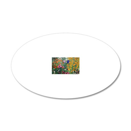 Klimt Flowers Beach 20x12 Oval Wall Decal