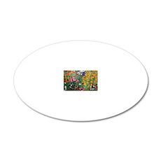 Klimt Flowers Clutch 20x12 Oval Wall Decal