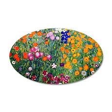 Klimt Flowers Clutch 35x21 Oval Wall Decal