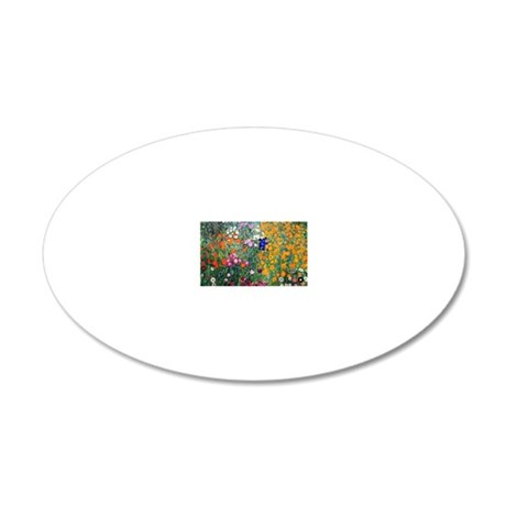 Klimt Flowers Coin 20x12 Oval Wall Decal