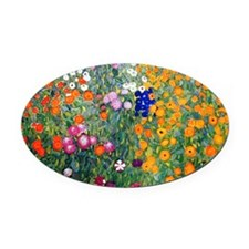 Klimt Flowers Coin Oval Car Magnet