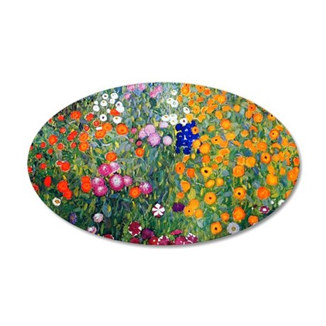 Klimt Flowers Coin 35x21 Oval Wall Decal