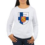 Suomi Flag Crest Shield Women's Long Sleeve T-Shir