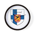 Suomi Flag Crest Shield Wall Clock
