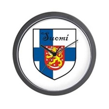 Suomi Flag Crest Shield Wall Clock