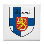 Suomi Flag Crest Shield Tile Coaster