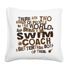 swimcoachbrown Square Canvas Pillow