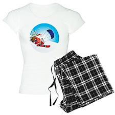 Santa Snowkite Snowboard Pajamas