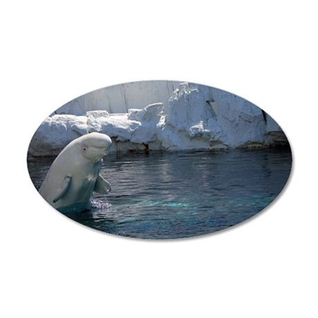 Beluga Whale jumping 2 35x21 Oval Wall Decal