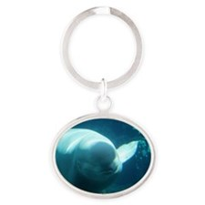 Close up of a Beluga Whale 3 Oval Keychain