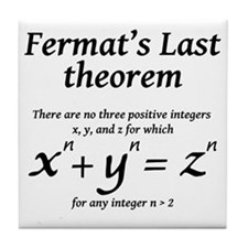 Fermats-last-theorm-blackLetters copy Tile Coaster