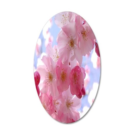 Pink flowers 35x21 Oval Wall Decal