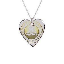 triple horn rune shield Necklace Heart Charm