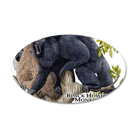 Black Howler Monkeys 35x21 Oval Wall Decal
