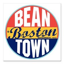 "Boston Vintage Label W Square Car Magnet 3"" x 3"""