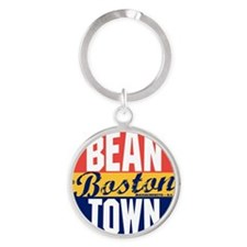 Boston Vintage Label W Round Keychain