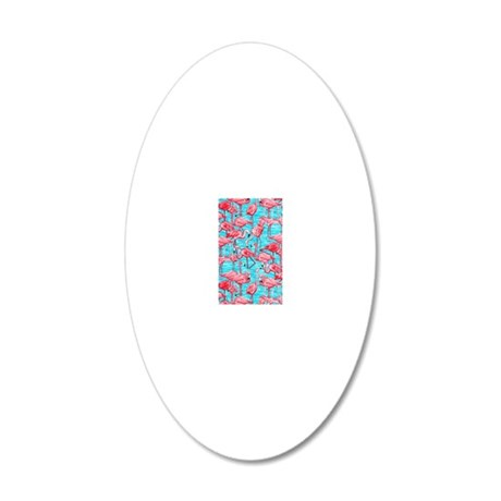 Flamingos 20x12 Oval Wall Decal