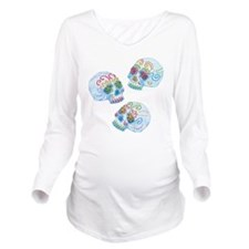 sugar-skull-allover_ Long Sleeve Maternity T-Shirt