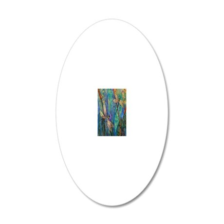 Colorful Dragonflies 20x12 Oval Wall Decal