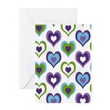 hearts green purple Greeting Card