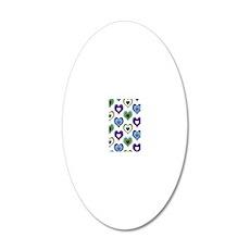 hearts green purple 20x12 Oval Wall Decal