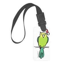parakeet_green_santa Luggage Tag