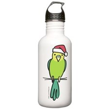 parakeet_green_santa Water Bottle