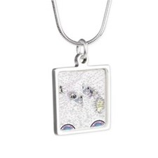 Flip-Flops Silver Square Necklace