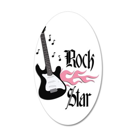 Pink Rock Star Guitar 35x21 Oval Wall Decal