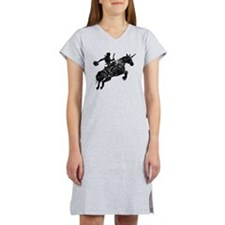 cowboy unicorn tee wht Women's Nightshirt