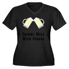 Drinks Well  Women's Plus Size Dark V-Neck T-Shirt