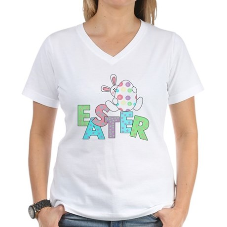 Bunny With Easter Egg Women's V-Neck T-Shirt