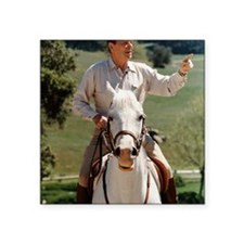 "Reagan_on_horseback Square Sticker 3"" x 3"""