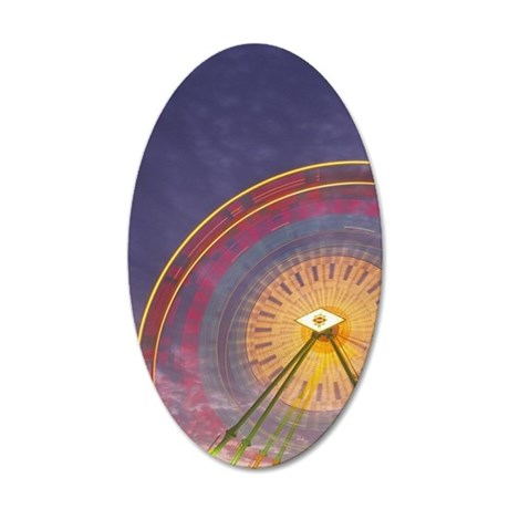 Ferris wheel rotation motion 35x21 Oval Wall Decal