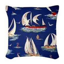 sailboat Woven Throw Pillow