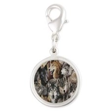wolves Silver Round Charm