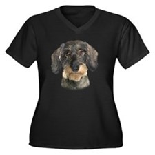 7portrait Women's Plus Size Dark V-Neck T-Shirt