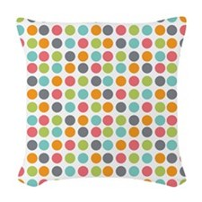 Dots Colorful Light Woven Throw Pillow