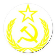 hammer sickle gold Round Car Magnet