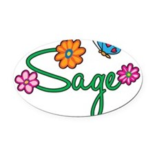 Sage Oval Car Magnet