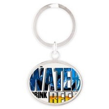 save water drink beer mouse wht Oval Keychain