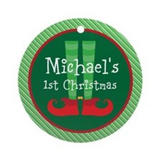 Personalized 1st Christmas Elf Ornament (Round)