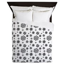 Black Snowflakes Queen Duvet