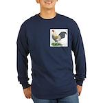 Blue Gold DW Cock Long Sleeve Dark T-Shirt