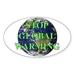 Stop Global Warming Oval Sticker