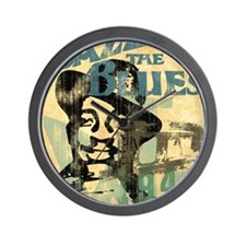 jazzin the blues framed panel print cop Wall Clock