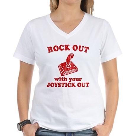 Rock Out With Your Joystick O Womens V-Neck T-Shi