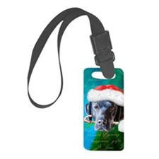 black lab-santa-journal Luggage Tag