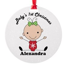 Custom Babys 1st Christmas Stick Figure Ornament